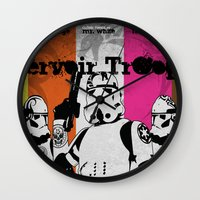 reservoir dogs Wall Clocks featuring ReServoir TrOopers by PIXEL MUNKI