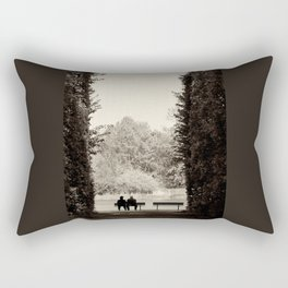 Two old people sitting on bench between hedge Rectangular Pillow