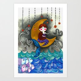 Mermaid in the moon Art Print