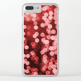 Red Bokeh Christmas Lights Effect Clear iPhone Case