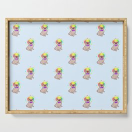 Pug dog in a clown costume pattern Serving Tray