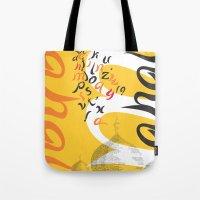 font Tote Bags featuring Mahal Font by John Hernandez Art