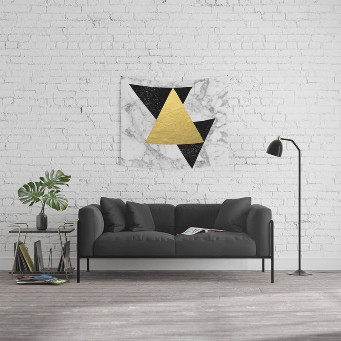 Marble Tri Black & Gold - gold foil, gold, marble, black and white, trendy, luxe, gold phone Wall Tapestry