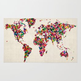 Butterflies Map of the World Map Rug