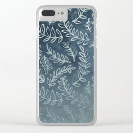 Navy Floral Clear iPhone Case