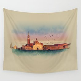 Soft watercolor sunset with views of San Giorgio island, Venice, Italy. Wall Tapestry