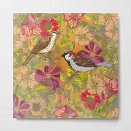 Sweet Sparrows and Briar Rose Metal Print