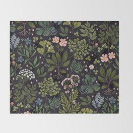 Herbarium ~ vintage inspired botanical art print ~ black Throw Blanket