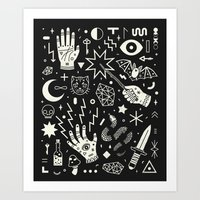 patterns Art Prints featuring Witchcraft by LordofMasks
