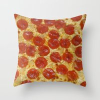 pizza Throw Pillows featuring Pizza by Callmepains