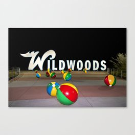 Wildwoods Sign at Night, on the Wildwood, NJ Boardwalk Canvas Print