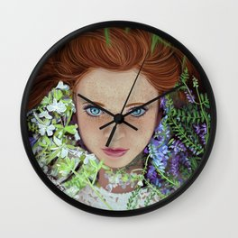 Among flowers Wall Clock