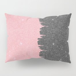 Pretty Girly Pink Black Faux Glitter Brushstroke Pillow Sham