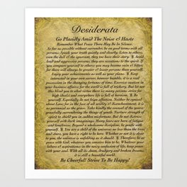 Inspirational Typography Wall Art, Antique Style, Desiderata Poem by Max Ehrmann Art Print