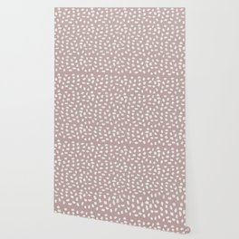 Simply Ink Splotch Lunar Gray on Clay Pink Wallpaper