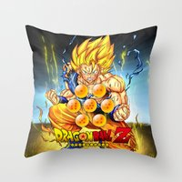 dragon ball z Throw Pillows featuring goku ball z design by customgift