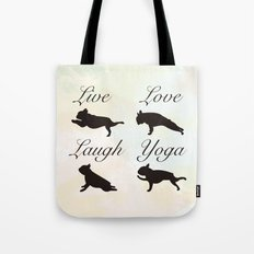 Live Love Laugh Yoga! French Bulldog Yoga design Tote Bag