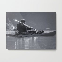 Maneuvers kayaking and fishing McCloud Reservoir California lake Metal Print