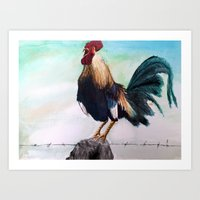rooster Art Prints featuring Rooster by buddhistfist