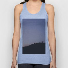 Male silhouetted on mountain top at sunset. Derbyshire, UK Unisex Tank Top