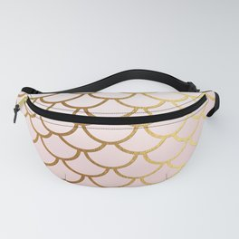 Pink Gradient And Gold Foil MermaidScales - Mermaid Scales Fanny Pack