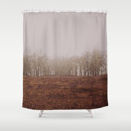 Foggy Trail to the Trees Shower Curtain