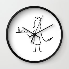 nurse in the hospital with syringe and medicine Wall Clock