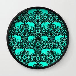 Elephant Damask Mint and Black Wall Clock