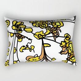 Golden Petals on Branches Rectangular Pillow
