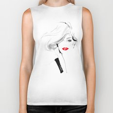 Woman with red lips Biker Tank