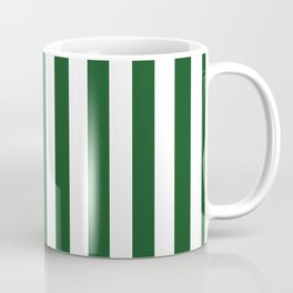 Large Forest Green and White Rustic Vertical Beach Stripes Coffee Mug