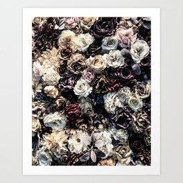 Flower Wall // Desaturated Vintage Floral Accent Background Jaw Dropping Decoration Art Print