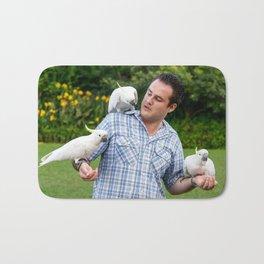 Feeding Wild Cockatoos, Royal Botanic Gardens, Sydney Bath Mat