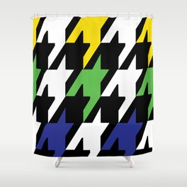 Jumbo Scale Masculine Colored Houndstooth Pattern Shower Curtain