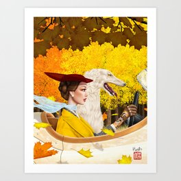 Autumn Drive with Borzoi Art Print