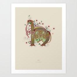 Celtic Initial H Art Print