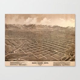 Map Of Salt Lake City 1875 Canvas Print