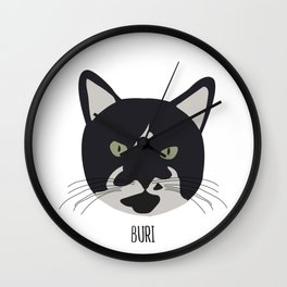 Family Cat Portraits, Buri Wall Clock