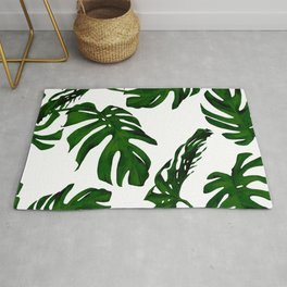 Simply Tropical Palm Leaves in Jungle Green Rug