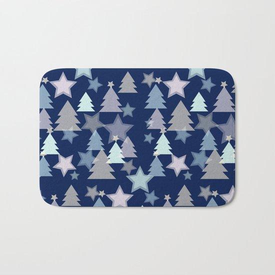 Christmas Landscape blue Bath Mat
