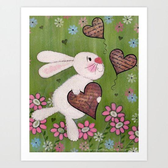 Some Bunny Loves You - Rabbit Delivers Love Letters Easter Kids Art Art Print