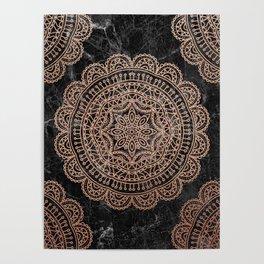 Mandala - rose gold and black marble 2 Poster