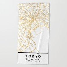 TOKYO JAPAN CITY STREET MAP ART Beach Towel