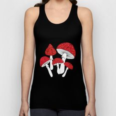 Red mushrooms field on navy blue Unisex Tank Top