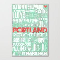 Portland Oregon Neighborhoods in Teal Canvas Print