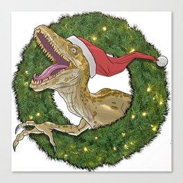 Velociraptor and Christmas Wreathe Canvas Print