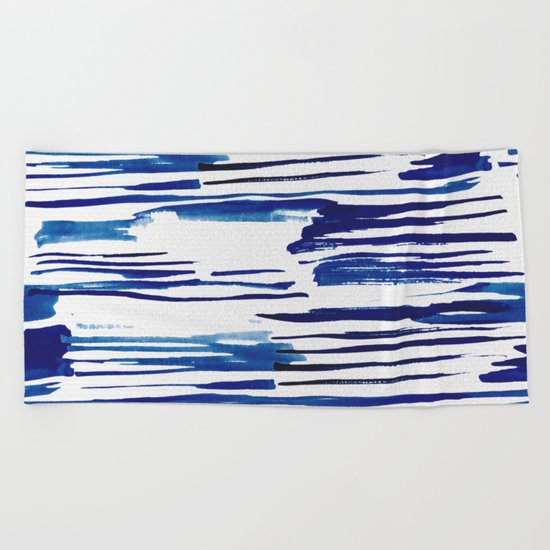 Shibori Paint Vivid Indigo Blue and White Beach Towel