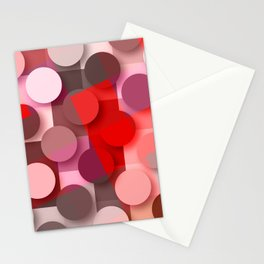dots & squares red Stationery Cards