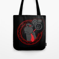 donkey kong Tote Bags featuring Donkey Kong by La Manette