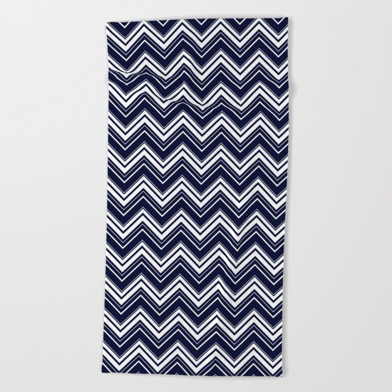 Maritime pattern- chevron - white and darkblue Beach Towel